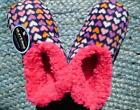 Slumbies Womens Med Large Slipper Pink Hearts Bed Socks Winter Anti-Slip New