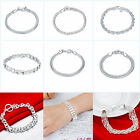12 Style Women 925 sterling silver Plated Hand Chain Beacelet Cuff Bangle Gift