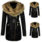 New Women's Ladies Faux Leather Fur Collar PVC Long Biker Jacket Coat UK 8-14