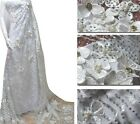 3D OFF-WHITE ELEGANT TULLE EMBROIDERY FLORAL BEADS BRIDAL DRESS FABRIC 5YDS LOT
