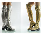 Clubwear Womens Sexy Zip Block Heel Shoes Sequins Stage Show Over the Knee Boots