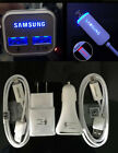 GENUINE Samsung Adaptive Fast LED Car Charger Double USB&Wall charger+LED Cable