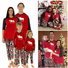 Christmas Family Matching Pajamas Set Deer Adult Women Kids Sleepwear Nightwear