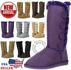 New Women's Four Button Faux Fur Lined Shearing Mid Calf Winter Snow Fur Boots!