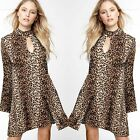 70s Bell Sleeve Choker Neck Cutout Swing Dress LEOPARD PRINT HI Neck Dress Tunic