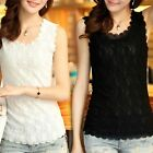 Women Lace Collar Tank Top Vest Sleeve​less T-Shirt Sexy Blouse Top