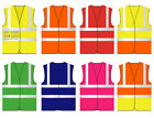 Hi Viz Visibility Coloured Vest Waistcoats Vests - Red Pink Green Navy Yellow