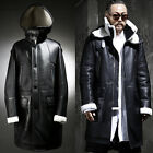 ByTheR Mens Double Buckle Dark Wear Black Casual Long Mustang hoodie Coat