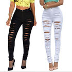 Women Sexy High Waisted Skinny Ripped Denim Pants Slim Pencil Jeans Trousers FM