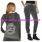 NWT Juicy Couture Velour Tracksuit Women Embellished Jacket jogger pants L
