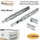 12-22In Soft Close Full Extension Drawer Slide Rear Mount Ball Bearing+Brackets