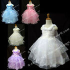 #SP3 Flower Girl Christening Baptism Gown Dress 0 3 6 9 12 18 24 Months 2T 3T 4T