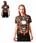 Gothic Flaming Skull T - Shirt With Rivets Size Large