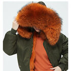 Khaki MA1 Jacket Orange Fox Fur Collar Fur-Trim Hooded Parka inspired Mr Mrs Fur