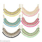 Lady Fashion Jewelry Pendant Chain Crystal Choker Chunky Statement Bib Necklace