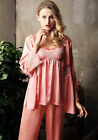 Elegant Fall New Pink 3pcs Silk Blend Female's Sleepwear/ Pajama Sets M/L/XL/2XL