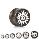 DARK WOOD WHITE SUN Ear Plugs Stretchers Jewellery Saddle Wooden Timber PL117