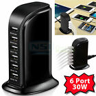 30W Multi 6 Port USB Charger 6A Rapid Charging Station Desktop Travel Hub iPhone