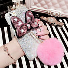 3D Cute Luxury Bing Glitter Bowknot Plush Ball Case Cover for iPhone 6 6S 7 Plus