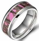 8mm Titanium Ring Pink Forest Camouflage Comfort Fit Wedding Band