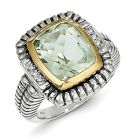 Sterling Silver w/14k Gold 6.05Green Quartz & .03ct. Diamond Ring