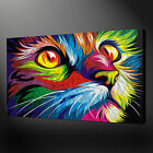 ABSTRACT CAT WALL ART CANVAS PRINT PICTURE VARIETY OF SIZES FREE UK DELIVERY