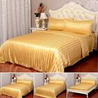 19 Momme 100% Pure Silk Duvet Cover Sheets Pillow Cases Seamless Striped Gold