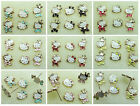 3 Pr Adorable Hello Kitty Rose Gold Plated Enamel Stud Post Earrings 6 Colors