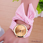 Vintage Stripe Fabric Cloth Watch Women's Bracelet Fashion Quartz Wrist Watch