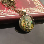 Unisex Chic Steampunk Cog&Gears Mechanical Vintage Owl Glass Pendant Necklace