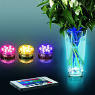 Sale 10 LED RGB Submersible Waterproof Wedding Party Vase Base Light + Remote CT