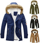 Mens Warm Fur Collar Hooded Parka Winter Thick Down Coat Outwear Jacket