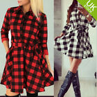 Ladies Autumn Plaid Slim Long Sleeve Casual Mini Tunic Shirt Dress With Belt