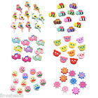 50PCs Mixed Cute Cartoon Aniamls Shaped Wood Beads DIY Spacer Crafts Beads