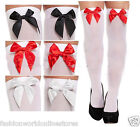 LADIES OVER THE KNEE HOLD UP STOCKINGS WITH BOWS THIGH HIGH SOCKS FANCY DRESS