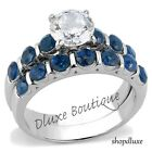 2.75 Ct Round Cut Clear & Blue CZ Stainless Steel Wedding Set Women's Size 5-10
