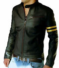 New Genuine Leather Jacket  Motorcycle Jacket Black Biker Slim fit Jacket AB79