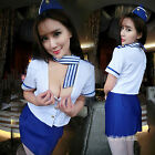 Short Sleeve Tops and Package Hip Sexy Stewardess Dress Set With Cap Cosplay