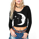 Autumn Season Woman Long Sleeve Round Neck Moon Printed New Short T-Shirt OE