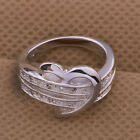 925 Silver Plated Ring Finger Band Crystal Heart Shape Love Women Size 5-11 HotE