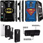 For [LG Phones] Heavy Duty Rugged Clip Holster Case Stand - Batman Superman