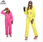 Women Waterproof Ski Snow Snowboard Suit One Piece Padded Insulated Pink&Yellow