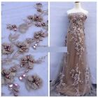 BY THE YARD - 3D GORGEOUS EMBROIDERED PEARLS STONES FLORAL BRIDAL TULLE FABRIC