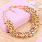 Women Chunky Double Crystal Bead Pendant Choker Collar Statement Necklace SAT