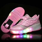 Kids Girls LED Light Shoes Retractable Wheels Roller Skate Shoes Adults Sneakers