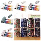 36/48/72 Holes Canvas Wrap Roll Up Pencil Bag Pen Case Holder Storage Pouch O7M