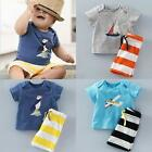 2pcs Newborn Baby Kids Boys Summer T-shirt Tops+Shorts Pants Outfits Clothes Set