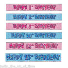 FOIL BANNER Glitz Birthday Party BANNERS Decorations 9ft Glitz 2 Colours 1-18th