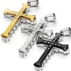 Men's Stainless Steel Tri-layers Cross Pendant Necklace Black and Silver Chain