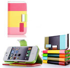 Color Wallet PU Leather Flip Wallet Case Cover For iPhone 4 4s - ROSE COLOR